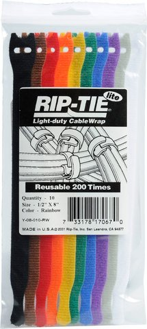 Rip-Tie Lite - Rainbow Pack 8 Inches - 10 Ties