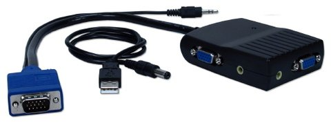 QVS 2 Port VGA/QXGA Splitter w/ Amplifier & Audio