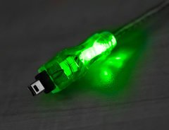QVS 6FT FireWire 400 6-pin to 4-pin Green LED Cable