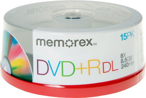 Memorex 8x DVD+R DL Double Layer Logo Branded - 15 Discs
