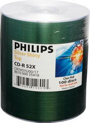 Philips 52x CD-R Shiny Silver Thermal Printable - 100 Discs