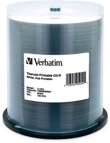 Verbatim 52x CD-R White Thermal Printable - 100 Discs