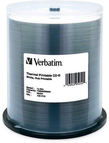 Verbatim 52x CD-R White Thermal Printable - 100 Discs