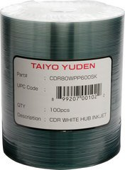 Taiyo Yuden 52x CD-R White Inkjet Printable - 100 Discs