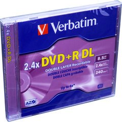 Verbatim 2.4x DVD+R DL Double Layer Logo Branded - 1 Disc