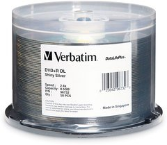 Verbatim 8x DVD+R DL Double Layer Shiny Silver Thermal Printable - 50 Discs