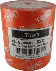 Titan 52x CD-R Shiny Silver Thermal Printable - 100 Discs