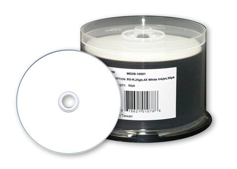 4x BD-R White Inkjet Hub Printable - 50 Discs