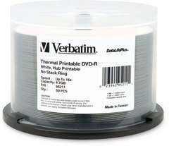 Verbatim 16x DVD-R White Thermal Printable - 50 Discs