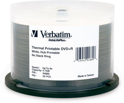 Verbatim DVD+R White Thermal Printable 50 Discs