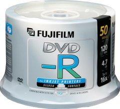 Fujifilm 16x DVD-R Silver Inkjet Printable - 50 Discs