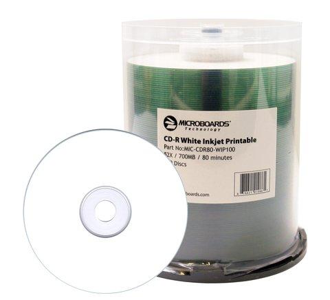 Microboards 52x CD-R White Inkjet Printable - 100 Discs