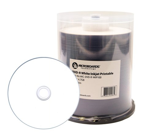photograph regarding Ink Jet Printable Dvd known as Microboards 16x DVD-R White Inkjet Printable - 100 Discs