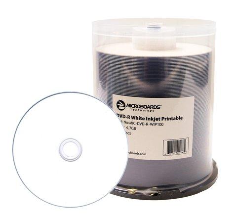 photo regarding Printable Dvd Discs named Microboards 16x DVD-R White Inkjet Printable - 100 Discs