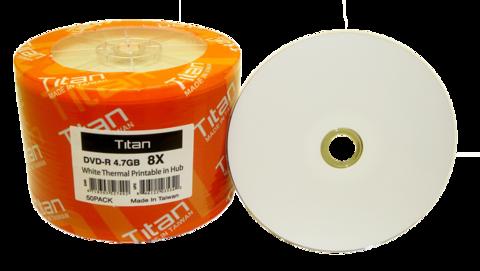 Titan 8x DVD-R White Thermal Printable - 50 Discs