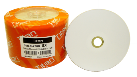 Titan 8x DVD-R White Thermal Printable - 50 Discs