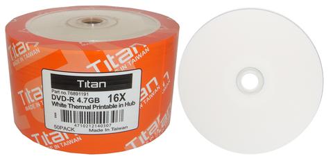 Titan 16x DVD-R White Thermal Printable - 50 Discs