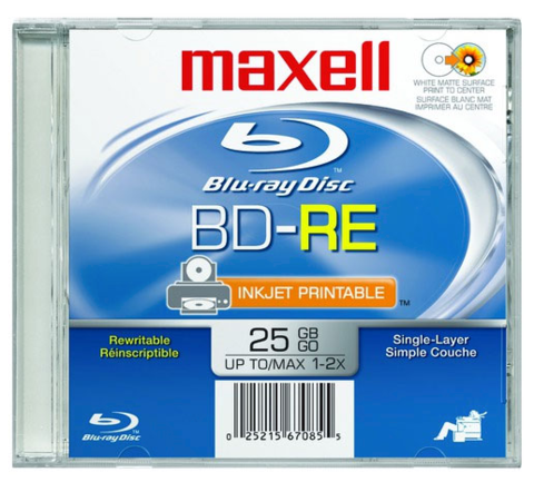 Maxell 2x BD-RE Rewritable White Inkjet Printable - 1 Disc