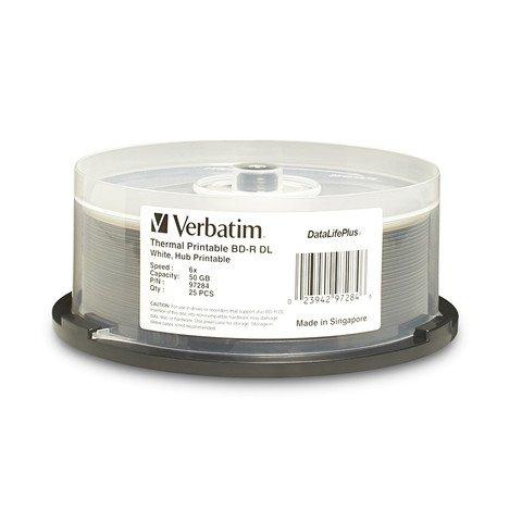 Verbatim 6x BD-R DL Dual Layer White Thermal Printable - 25 Discs