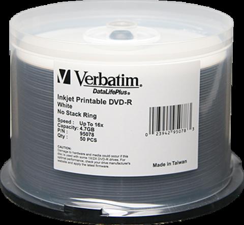 Verbatim 16x DVD-R White Inkjet Printable - 50 Discs