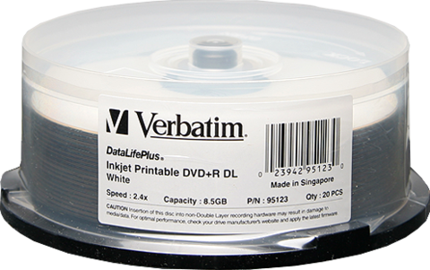 Verbatim 6x DVD+R DL Double Layer White Inkjet Printable - 20 Discs