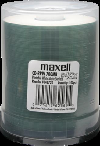 Maxell 48x CD-R White Inkjet Printable - 100 Discs