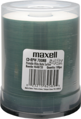 Maxell 48x CD-R White Inkjet Printable - 100 Discs