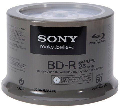 picture about Printable Blu Ray Discs named Sony 6x BD-R White Inkjet Printable - 50 Discs