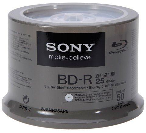 image regarding Printable Blu Ray Discs called Sony 6x BD-R White Inkjet Printable - 50 Discs