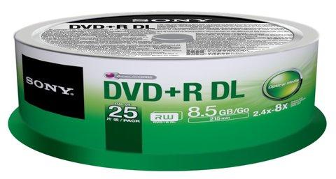 Sony 2.4x DVD+R DL Double Layer Logo Branded - 25 Discs