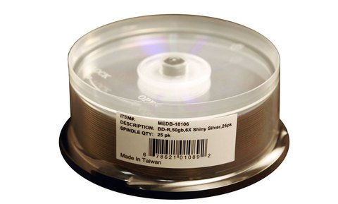 6x BD-R DL Dual Layer Shiny Silver Thermal Printable - 25 Discs
