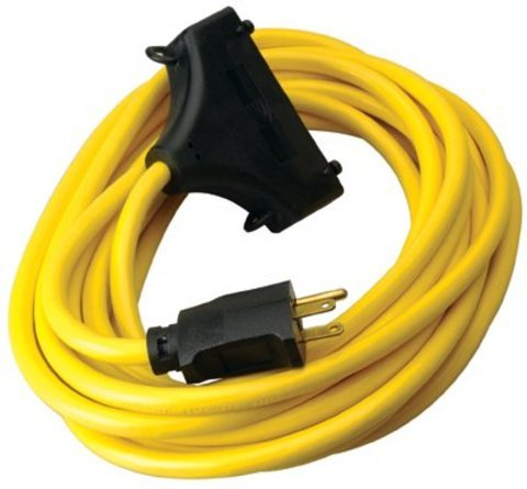 CCI 25FT Yellow Power Extension Cord NEMA 5-15P and NEMA 5-15R x 3