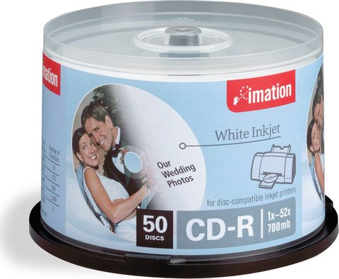 Imation 52x CD-R White Inkjet Printable - 50 Discs