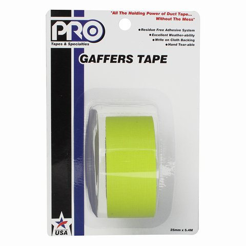 Pro-Tapes Pro-Gaffer Retail Pack 1 Inch Fluorescent Yellow