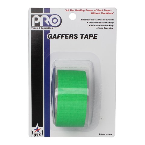 Pro-Tapes Pro-Gaffer Retail Pack 1 Inch Fluorescent Green