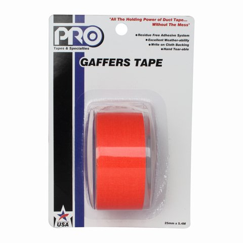 Pro-Tapes Pro-Gaffer Retail Pack 1 Inch Fluorescent Orange