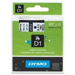 "Dymo D1 3/8"" Tape Label - 23 ft. Roll - Black on White"