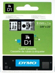 "Dymo D1 3/8"" Tape Label - 23 ft. Roll - Black on Clear"