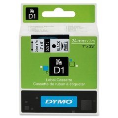 "Dymo D1 1"" Tape Label - 23 ft. Roll - Black on White"