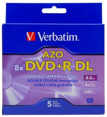 Verbatim 8x DVD+R DL Double Layer Logo Branded - 5 Discs