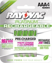Rayovac Platinum Rechargeable AAA Batteries - 4-Pack