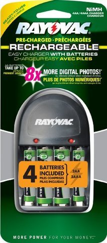 Rayovac OPP 4 Position AA/AAA Charger with 2AA and 2AAA OPP NiMH Batteries