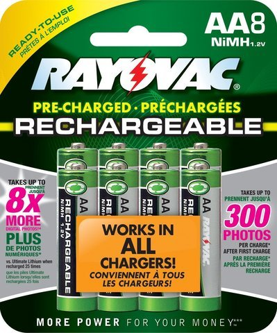 Rayovac Ready-to-Use Rechargeable AA Battery - 8-Pack