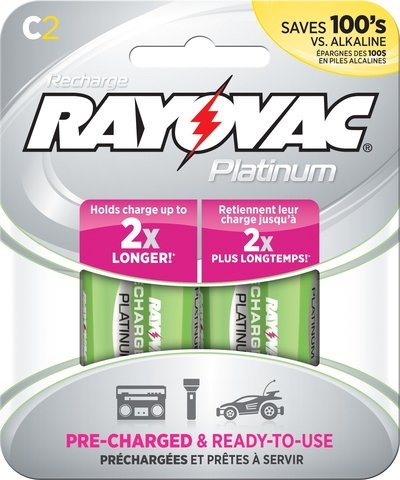 Rayovac Platinum Rechargeable C Battery, 2-Pack