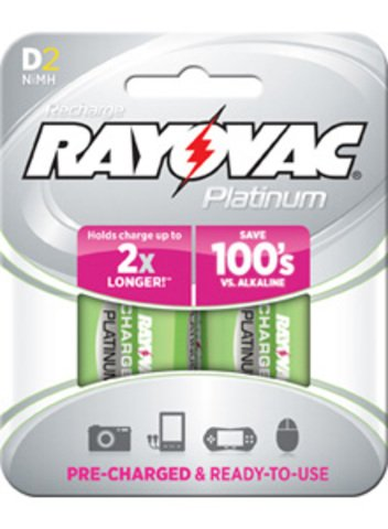 Rayovac Platinum Rechargeable D Battery, 2-Pack