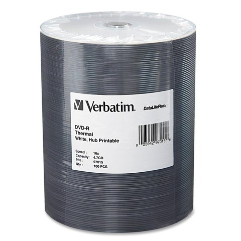Verbatim 16x DVD-R White Thermal Printable - 100 Discs
