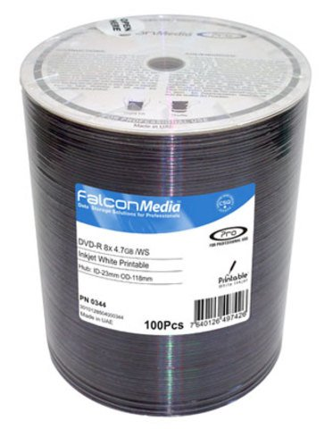 Falcon Media 8x DVD-R White Inkjet Printable - 100 Discs