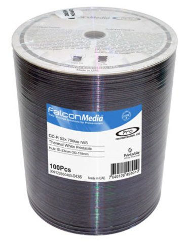 Falcon Media 52x CD-R White Thermal Printable - 100 Discs