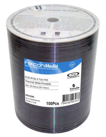 Falcon Media 8x DVD-R White Thermal Printable - 100 Discs