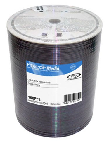 Falcon Media 52x CD-R Shiny Silver Thermal Printable - 100 Discs